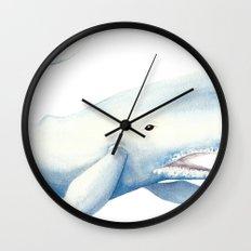 Nautical Whale Watercolor Wall Clock
