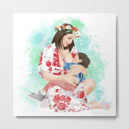 Colorful breastfeeding watercolor illustration or mother and son // attachment parenting and extended breastfeeding Metal Print