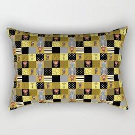 Jungle Friends Mustard & Black Cheater Quilt Hand-Painted Jungle Animals Rectangular Pillow