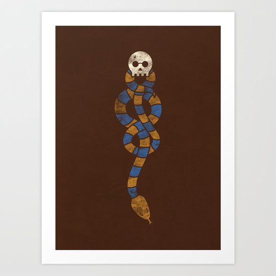 The Scarf Mark - Blue and Gold Art Print