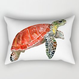 Sea Turtle red green turtle design, trutle illustration Rectangular Pillow