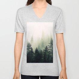 Foggy Pine Trees Unisex V-Neck