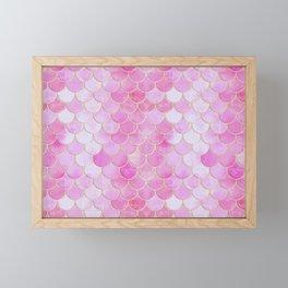 Pink Pearlescent Mermaid Scales Pattern Framed Mini Art Print
