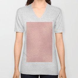 Elegant modern girly blush pink rose gold pattern Unisex V-Neck