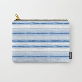 Watercolor Silent Sea Blue Stripes Carry-All Pouch
