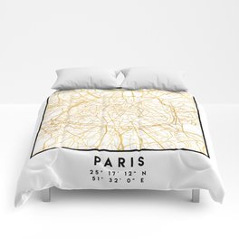 PARIS FRANCE CITY STREET MAP ART Comforters