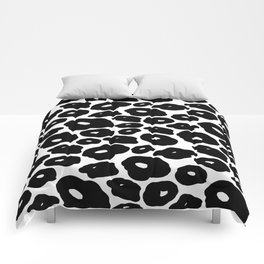 Abstract hand painted black white leopard animal print Comforters