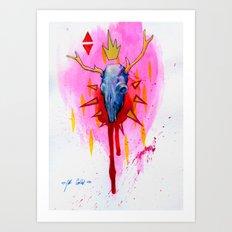 Blue Deer Skull Art Print