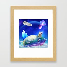 Ferret in the Sky with Crystals Framed Art Print