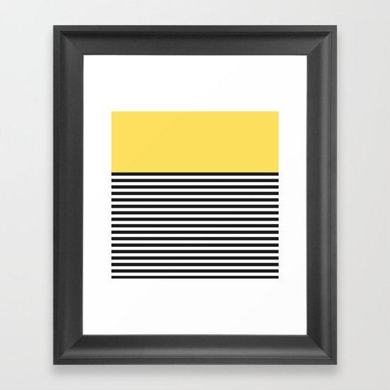 STRIPE COLORBLOCK {LEMON} Framed Art Print