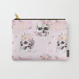 Floral Skull Pattern Carry-All Pouch