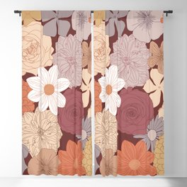 Retro Floral Wallpaper Design Blackout Curtain