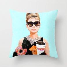 Breakfast at Dunkin Donuts - Audrey Hepburn Throw Pillow