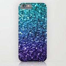 Beautiful Aqua blue Ombre glitter sparkles Slim Case iPhone 6