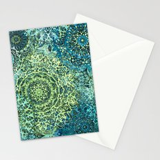 Blue Green Mandala Medallions Stationery Cards