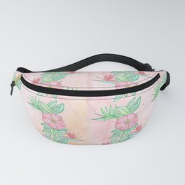 Tropical flowers and leaves watercolor Fanny Pack