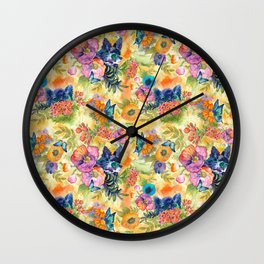 Maximalist Max in the Flowers Wall Clock
