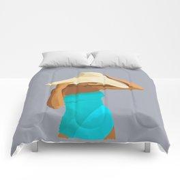 At the Beach: Aqua suit Comforters