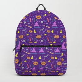 Halloween in Purple with Pumpkins and Witches Hat Backpack