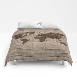 Rustic world map Comforters