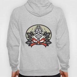 Thyrsus Pine Cone Staff Leaves Oval Retro Hoody