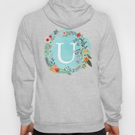 Personalized Monogram Initial Letter U Blue Watercolor Flower Wreath Artwork Hoody