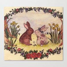 Bunnies in love Canvas Print