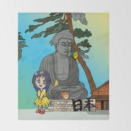 kawaii girl and her cat visit the daibutsu giant Buddha Throw Blanket