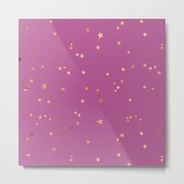 Gold Stars in Pink Morning Sky Pattern Metal Print