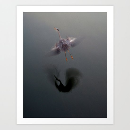 Blue Heron Abstract Art Print