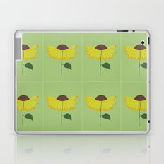 Yellow spring flower on a light green background Laptop & iPad Skin