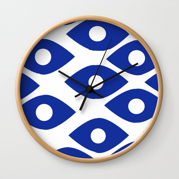 Blue and White Pattern Fish Eye Design Wall Clock