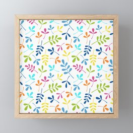 Multicolored Assorted Leaf Silhouette Pattern Framed Mini Art Print