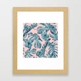 Island Life Teal on Light Pink Framed Art Print