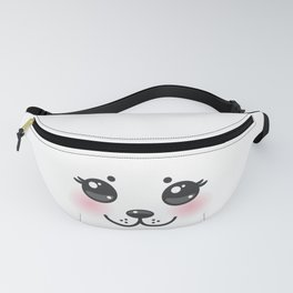 Kawaii funny albino animal white muzzle with pink cheeks and big black eyes Fanny Pack