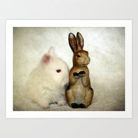 bunnies Art Prints featuring Bunnies by Angelandspot