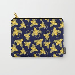 Golden Bees with Floral details on the wings and HoneyComb background Carry-All Pouch