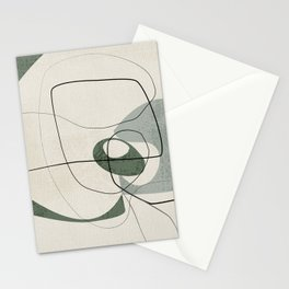 Minimalist Abstract Art Shapes - Scribbles Hunter Green 2 Stationery Cards