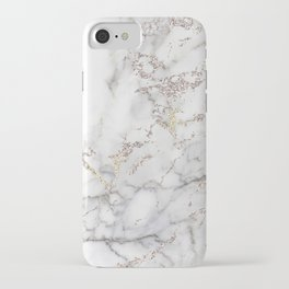 Champagne Rose Gold Blush Metallic Glitter Foil On Gray Marble iPhone Case
