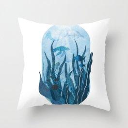 Underwater sea life ocean life water creatures Throw Pillow