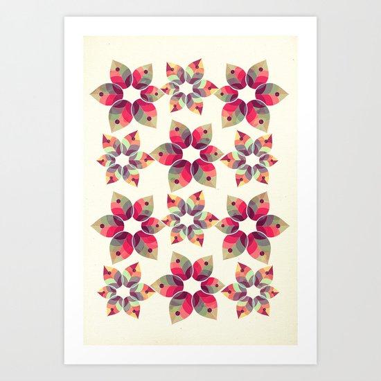 Autumn Flowers Pattern Art Print