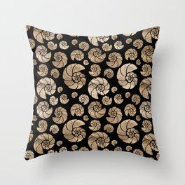 Sea shells pattern pastel gold on black Throw Pillow