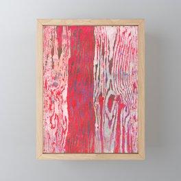 Modern Faux Bois Woodgrain Pattern Art Print - Bright Folk Red Framed Mini Art Print