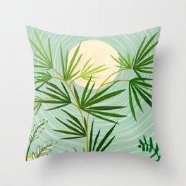 Summer Moon / Tropical Garden Illustration Throw Pillow