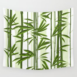 Green bamboo tree shoots pattern Wall Tapestry