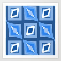 Blue and White Abstract Art Print