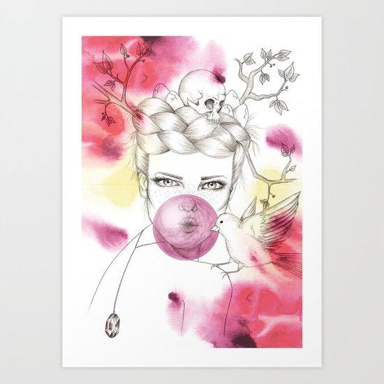 Bubble Birdie Art Print