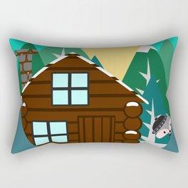 Winter cabin in the woods Rectangular Pillow