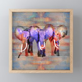 Watercolor effect  Elephant Digital Art Framed Mini Art Print