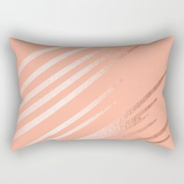 Sweet Life Swipes Peach Coral Shimmer Rectangular Pillow